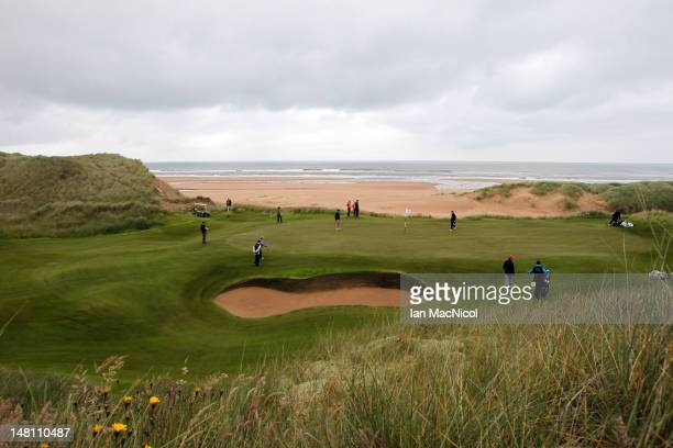 General view of the third green during the opening of The Trump International Golf Links Course on July 10, 2012 in Balmedie, Scotland. The...