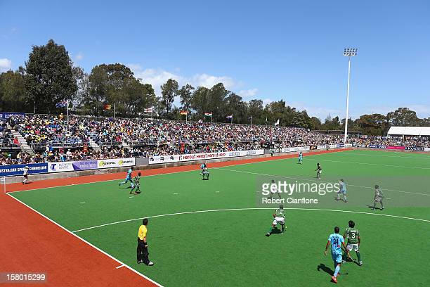 General view of the third place match between India and Pakistan during day six of the 2012 Champions Trophy at State Netball Hockey Centre on...