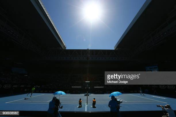 A general view of the third round match between Ivo Karlovic of Croatia and Andreas Seppi of Italy on day five of the 2018 Australian Open at...