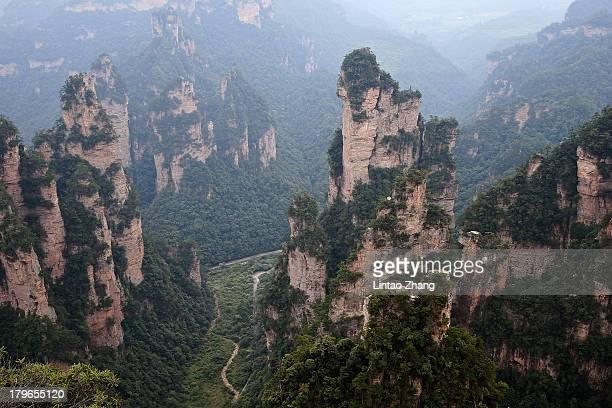 A general view of the Tianzi Mountain at Zhangjiajie national park on September 1 2013 in Zhangjiajie China Zhangjiajie National Forest park is a...