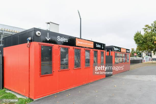 General view of the ticket booth at Orangetheory Stadium home of the Crusaders Super Rugby champions on March 21 2020 in Christchurch New Zealand...