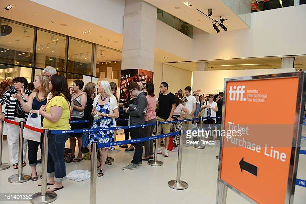A general view of the ticket purchase line outside the 'The First' premiere party during the 2012 Toronto International Film Festival on September 6...