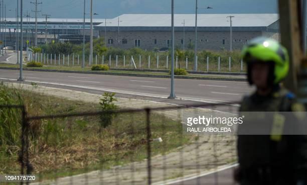 General view of the Tienditas Bridge on the border between the Colombian city of Cucuta and Tachira Venezuela after Venezuelan military forces block...