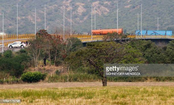 General view of the Tienditas Bridge on the border between the Colombian city of Cucuta and Tachira Venezuela after Venezuelan military forces block...
