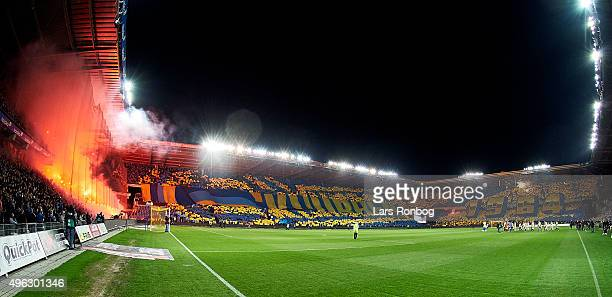 General view of the tifo and pyrotechnics from the Brondby fans during the Danish Alka Superliga match between Brondby IF and FC Copenhagen at...