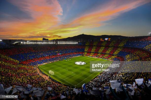 A general view of the tifo display before the UEFA Champions League Semi Final first leg match between Barcelona and Liverpool at the Nou Camp on May...