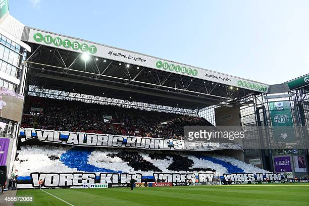 General view of the tifo from the fans of FC Copenhagen prior to the Danish Superliga match between FC Copenhagen and Brondby IF at Telia Parken...