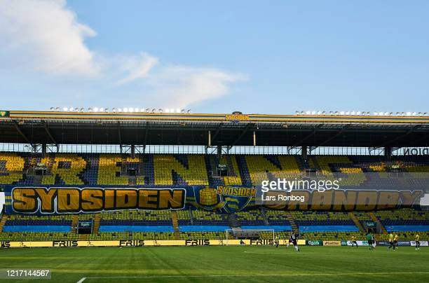 General view of the tifo on the Sydsiden stand during the Danish 3F Superliga match between Brondby IF and Sonderjyske at Brondby Stadion on June 2,...