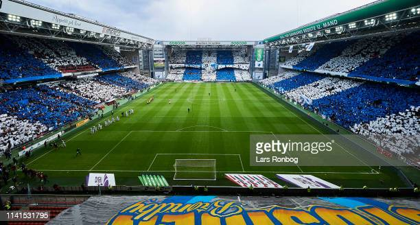 General view of the tifo prior to the Danish Superliga match between FC Copenhagen and Brondby IF at Telia Parken Stadium on May 5 2019 in Copenhagen...