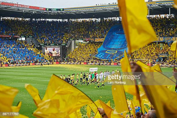 General view of the tifo when the two teams walkon to the pitch prior to the Danish Alka Superliga match between Brondby IF and FC Copenhagen at...