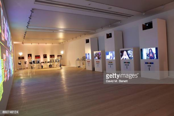 A general view of the timeline and other exhibits during E Entertainment Television celebrating 10 years of 'Keeping Up With The Kardashians' giving...