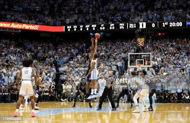 A general view of the tip off between the Duke Blue Devils and North Carolina Tar Heels at Dean Smith Center on March 09 2019 in Chapel Hill North...