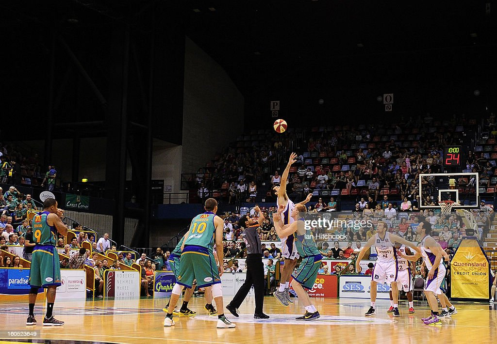 A general view of the tip off during the round 17 NBL match between the Townsville Crodcodiles and the Sydney Kings at Townsville Entertainment Centre on February 2, 2013 in Townsville, Australia.