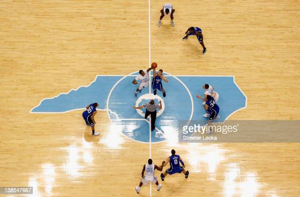 A general view of the tipoff between the Duke Blue Devils and the North Carolina Tar Heels at the Dean Smith Center on February 8 2012 in Chapel Hill...