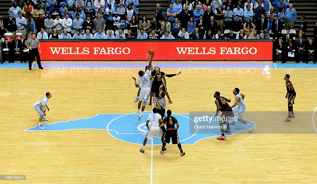 General view of the tipoff between the Maryland Terrapins and the North Carolina Tar Heels at the Dean Smith Center on January 19, 2013 in Chapel Hill, North Carolina. North Carolina won 62-52.