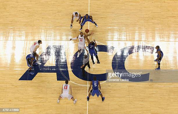 A general view of the tipoff of the Duke Blue Devils versus Virginia Cavaliers during the championship game of the 2014 Men's ACC Basketball...