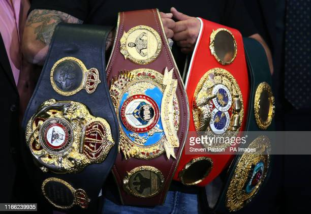 A general view of the title belts during a press conference at The Hilton London Syon Park London