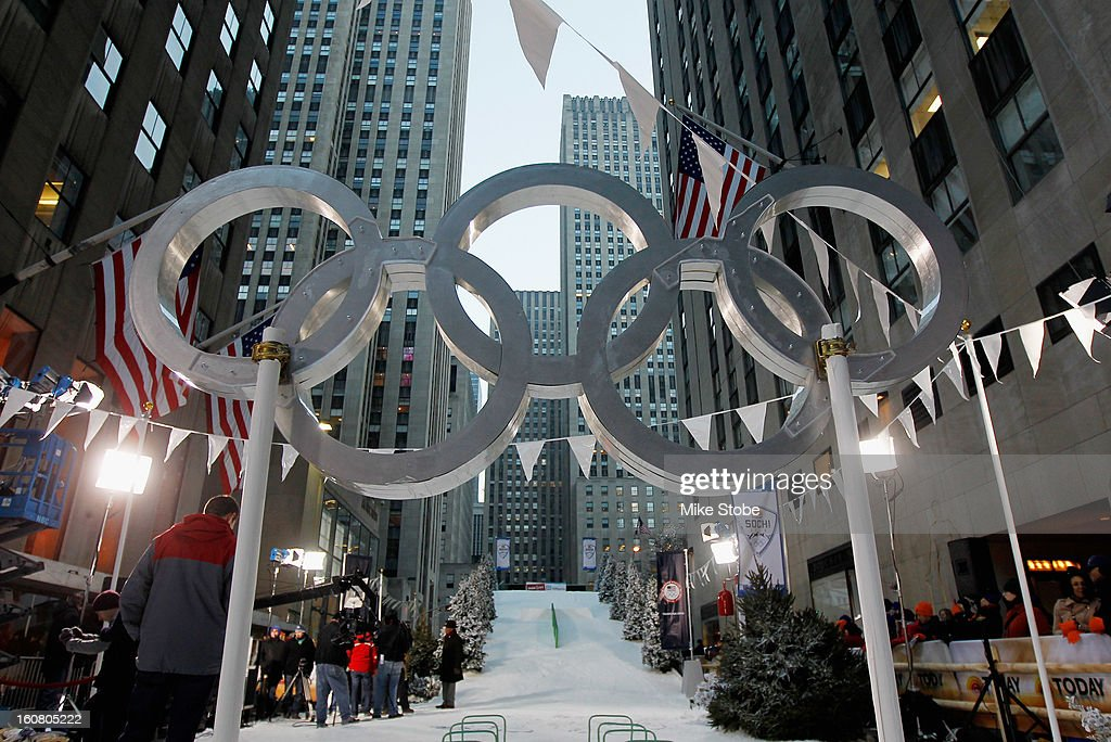 A general view of the Today Show One Year Out To Sochi 2014 Winter Olympics celebration ski hill at NBC's TODAY Show on February 6, 2013 in New York City.