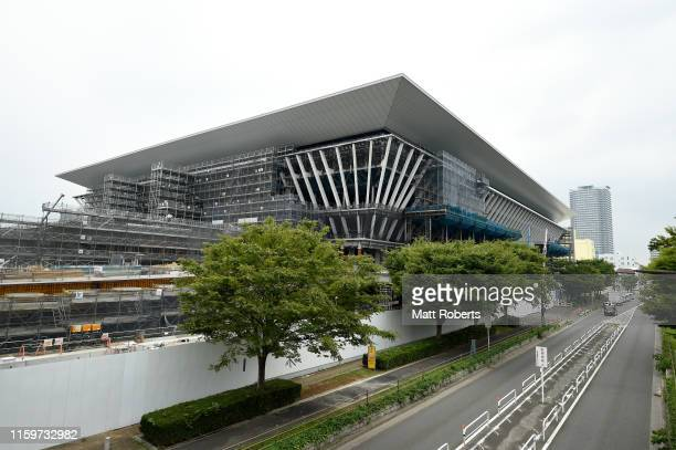 General view of the Tokyo Aquatics Centre during a media tour of Tokyo 2020 Olympic venues on July 03, 2019 in Tokyo, Japan.
