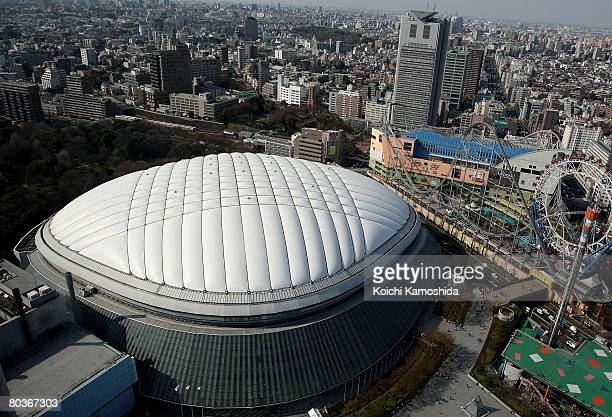 General view of the Tokyo Dome prior to the start of the first round of the 2008 World Baseball Classic is seen during the MLB Opening Series between...