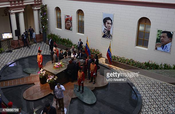 General view of the tomb of President Hugo Chavez during commemorations for his death's first anniversary at the Cuartel de la Montana in Caracas on...