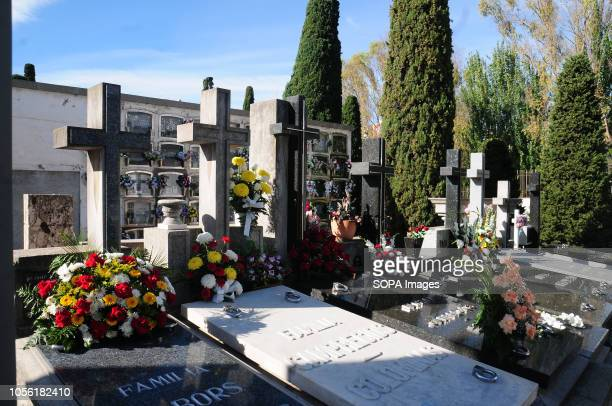 HOSPITALET BARCELONA SPAIN General view of the tombs in the Municipal Cemetery of L'Hospitalet City Spain celebrates the day of the dead where family...