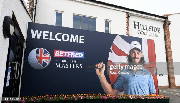 A general view of the Tommy Fleetwood 'welcome to the Betfred Masters' board during a practice round prior to the Betfred British Masters at Hillside...