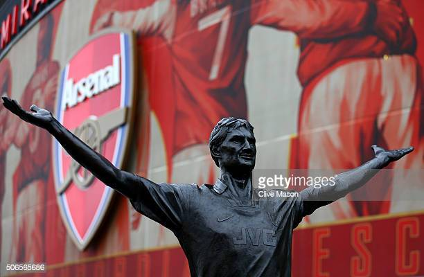 A general view of the Tony Adams statue outside the stadium before the Barclays Premier League match between Arsenal and Chelsea at Emirates Stadium...