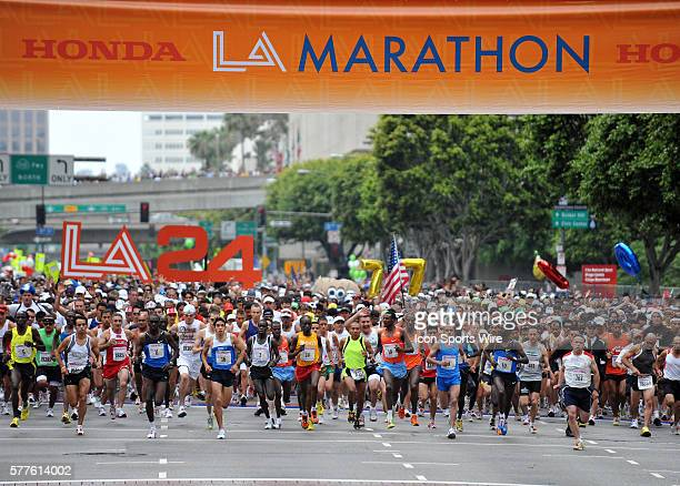 A general view of the top competitors and the rest of the field during the Los Angeles Marathon in Los Angeles California