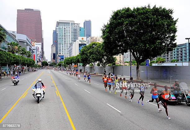 A general view of the top competitors with a general view of the city behind during the Los Angeles Marathon in Los Angeles California