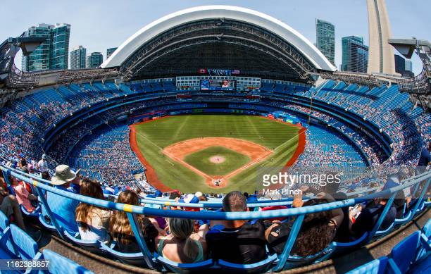 General view of the Toronto Blue Jays playing the Baltimore Orioles in their MLB game at the Rogers Centre on July 7, 2019 in Toronto, Canada.