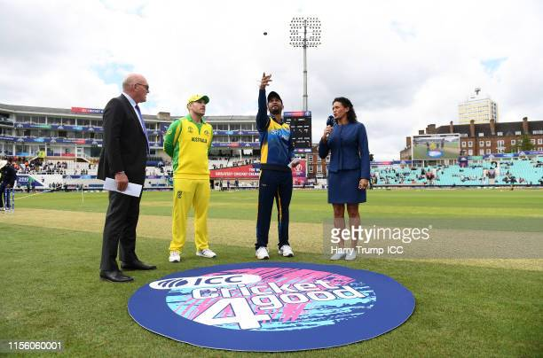General view of the toss as Dimuth Karunaratne of Sri Lanka flips the coin during the Group Stage match of the ICC Cricket World Cup 2019 between Sri...