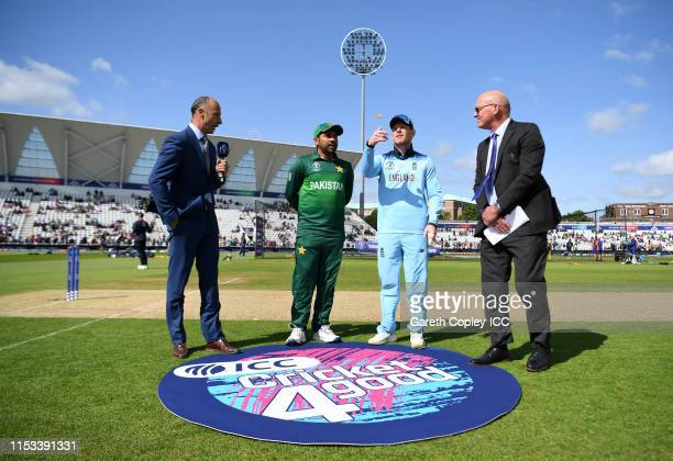 General view of the toss as Eoin Morgan of England flicks the coin during the Group Stage match of the ICC Cricket World Cup 2019 between England and...