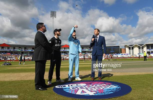 General view of the toss as Eoin Morgan of England flips the coin during the Group Stage match of the ICC Cricket World Cup 2019 between England and...