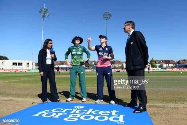 General view of the toss between captains Heather Knight of England and Dane van Niekerk of South Africa during the ICC Women's World Cup 2017 match...