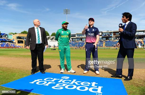 General view of the toss during the ICC Champions Trophy Semi Final match between England and Pakistan at the SWALEC Stadium on June 14 2017 in...