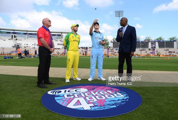 General view of the toss during the ICC Cricket World Cup 2019 Warm Up match between England and Australia at Ageas Bowl on May 25, 2019 in...