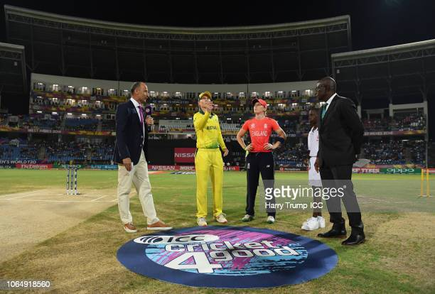 General view of the toss during the ICC Women's World T20 2018 Final between Australia and England at Sir Vivian Richards Cricket Ground on November...
