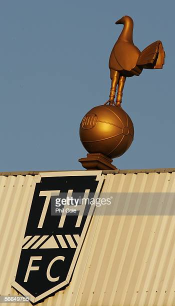 A general view of the Tottenham Hotspur cockerel emblem is seen during the Barclays Premiership match between Tottenham Hotspur and Aston Villa at...