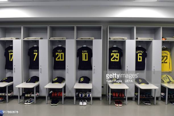 A general view of the Tottenham Hotspur dressing room prior to kickoff during the UEFA Champions League Round of 16 First Leg match between Juventus...