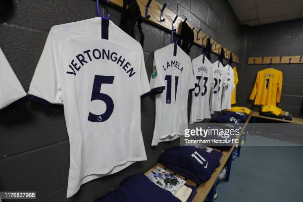 General view of the Tottenham Hotspur dressing room prior to the Carabao Cup Third Round match between Tottenham Hotspur and Colchester United at...