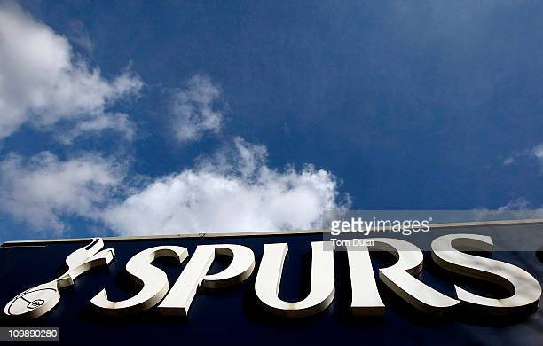 A general view of the Tottenham Hotspur Football Club logo above the club shop at White Hart Lane on March 9 2011 in London England