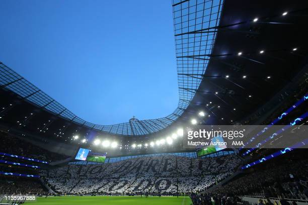 General View of the Tottenham Hotspur Stadium prior to the UEFA Champions League Quarter Final first leg match between Tottenham Hotspur and...