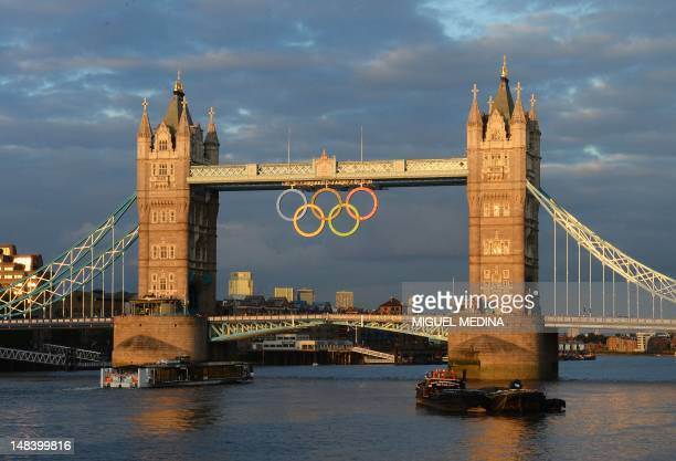 A general view of the Tower Bridge decorated with the Olympic ring symbol in central London on July 15 as Britain prepares for the beginning of the...