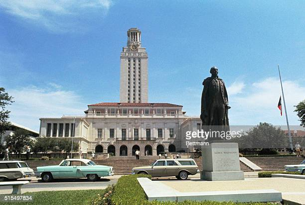 General view of the Tower Building on the campus of the University of Texas where sniper Charles Whitman staged a wild shooting spree August 1st...