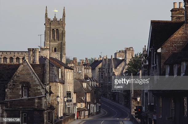 A general view of the town and St Martin's church Stamford Lincolnshire England May 1984 Stamford was declared a conservation area in 1967