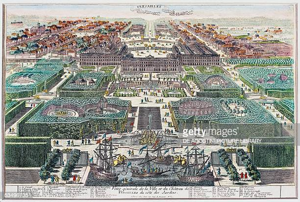 General view of the town and the chateau of Versailles with gardens on the side by Pierre Aveline the Elder France 17th century Versailles Château De...