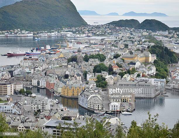 A general view of the town of Alesund on October 202011in Norway