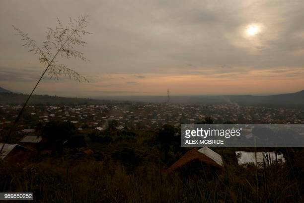 A general view of the town of Kibirizi Ruthshuru territory of North Kivu on May 5 2018 The town has become a hotspot for kidnappings and recruitment...