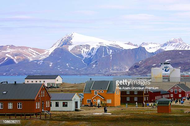 General view of the town of NyAlesund is seen on July 1 2006 in Spitsbergen Svalbard Norway